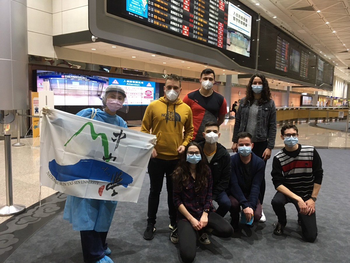 The students were welcomed at Taiwan Taoyuan International Airport.